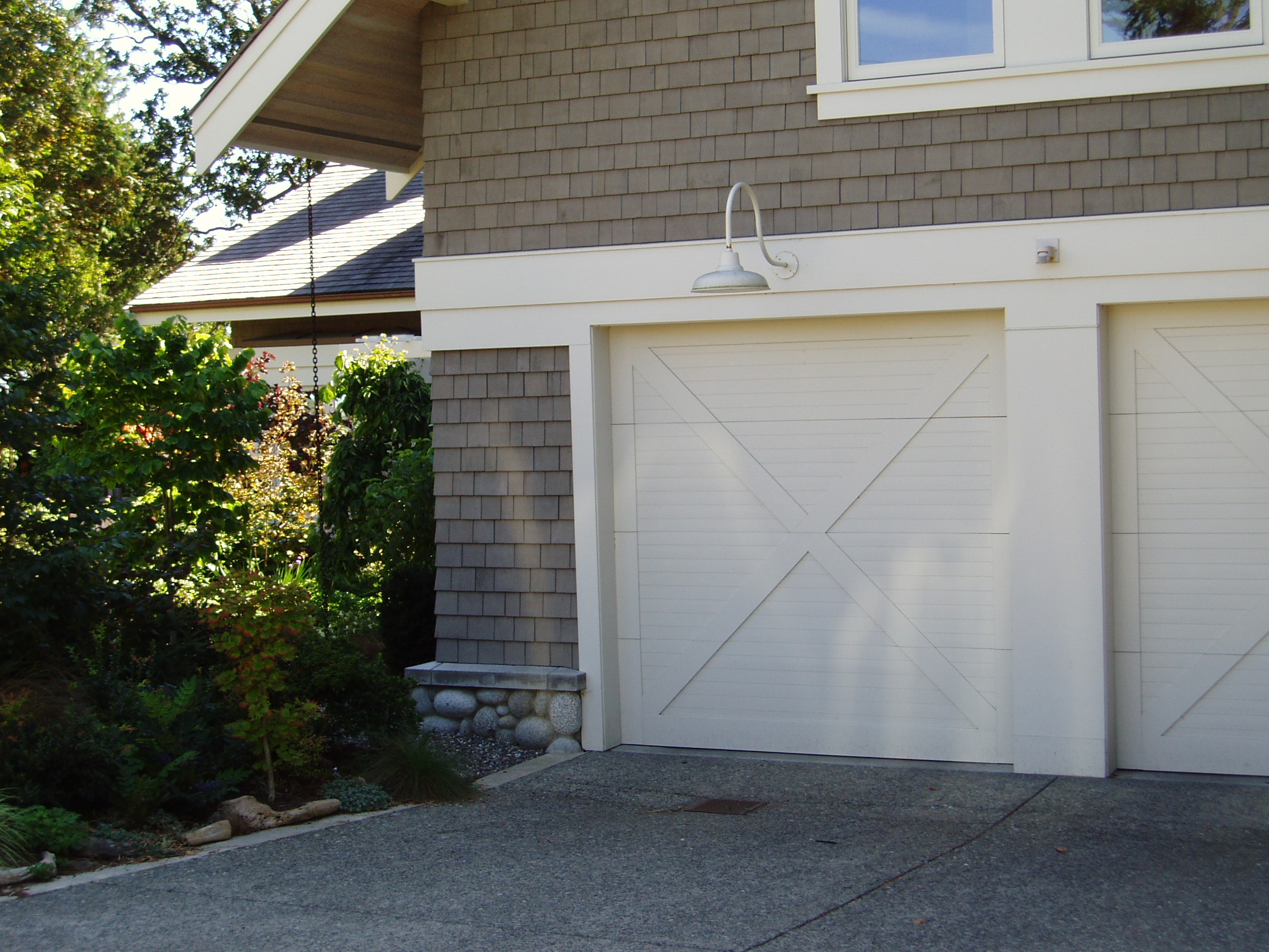 "1704 #6E6941  Door Solid – No Glass ""X"" Pattern Horizontal 1×3 Overlay pic Horizontal Garage Doors 37812272"