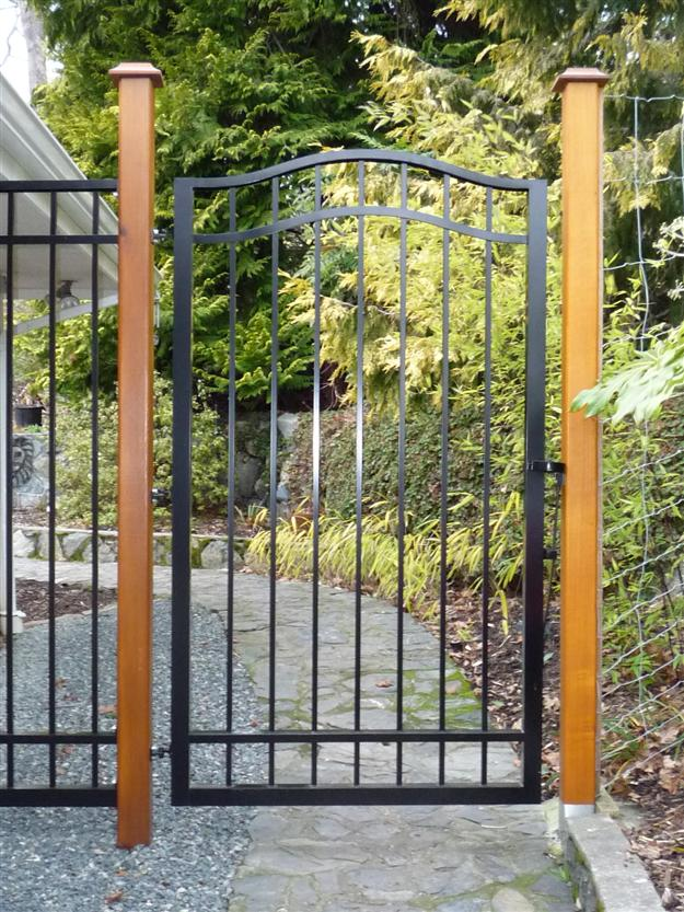 PG 01 - Garden gate style ped gate mounted on 4x4 wooden posts