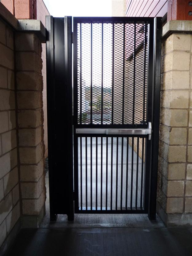 PG 08 - Custom commercial ped gate with panic hardware, expanded mesh for security