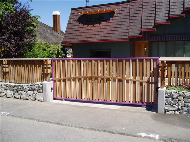 SG 04 Sliding gate with ground track aluminum frame with decorative wood pickets