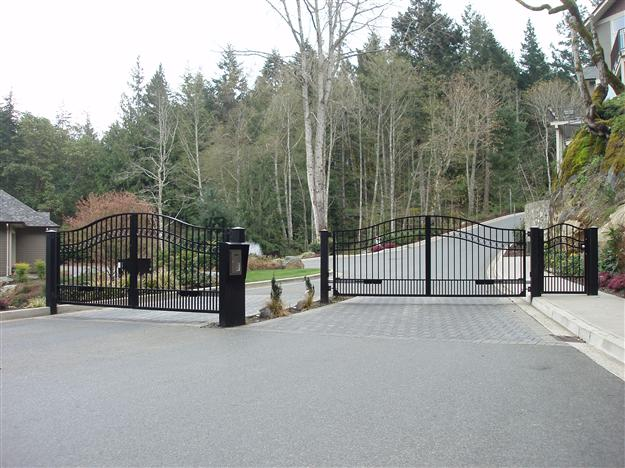 SWG 04 Entrance and exit gates for gated community with custom telephone entry kiosk