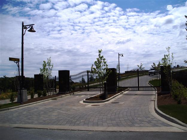 SWG 11 Entrance and exit aluminum gates for gated community with matching security fencing