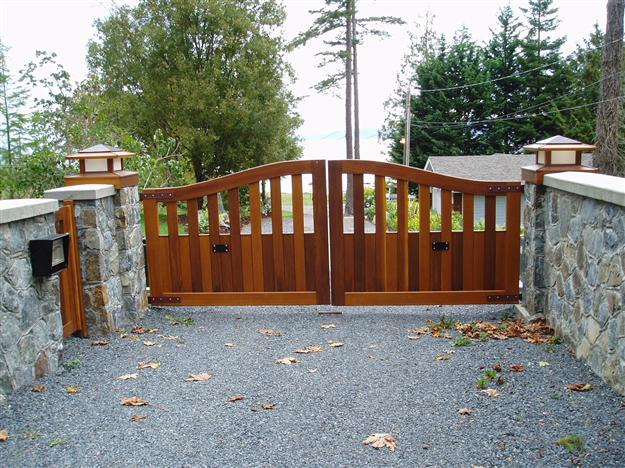 SWG 12 Custom wood gate with matching pedestrian gate