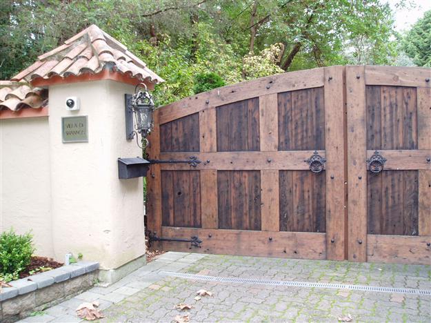 SWG 15 Double swing custom wood gate with decorative hardware