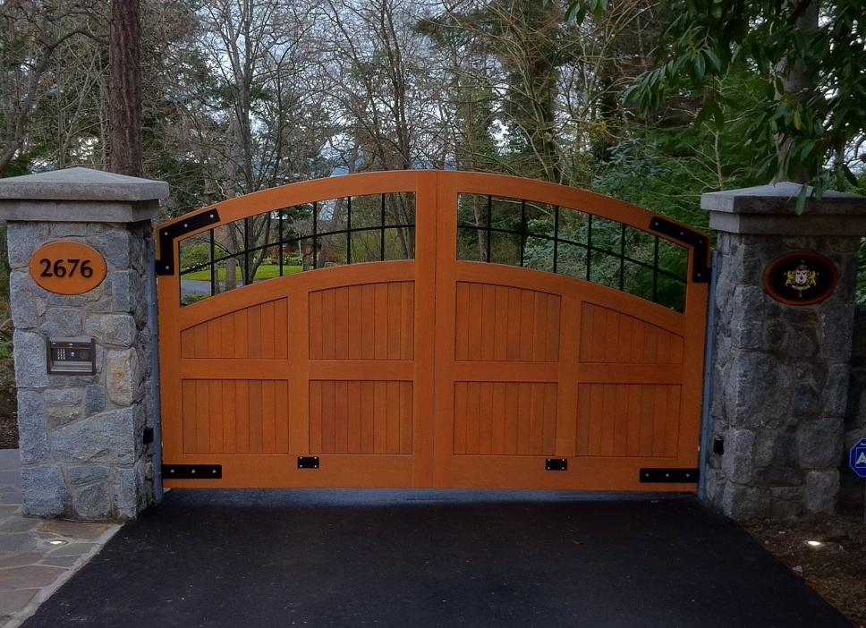 2 SWG30 Custom Wood Gate, with Surface Mount DoorKing 1812 Access Plus Telephone Entry
