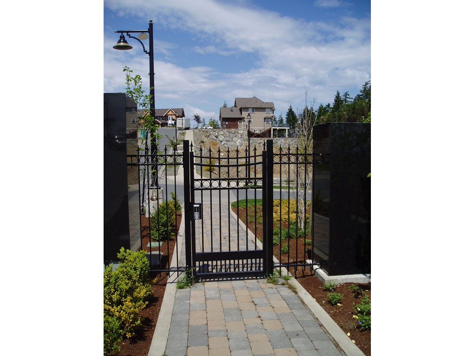 PG07 Locking Pedestrian Gate, with Digital Lock, to Match Double Swing Gate, Mounted on Aluminum Posts for Gated Community