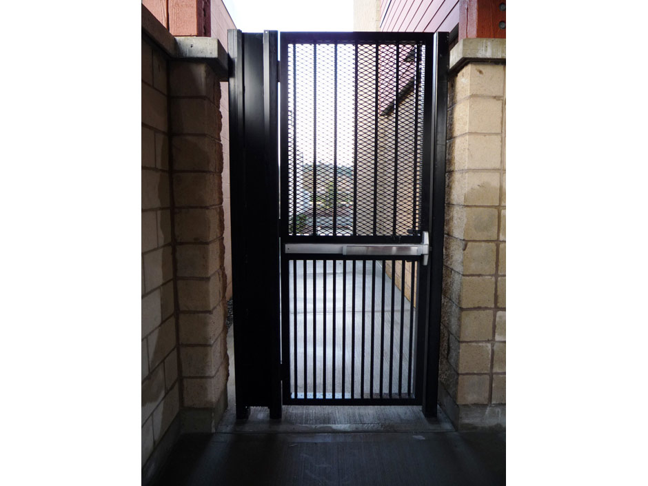 PG08 Custom Commercial Pedestrian Gate, Panic Hardware, Expanded Mesh for Security
